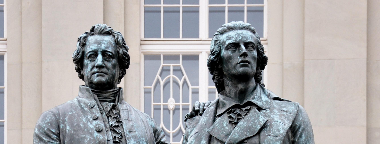Goethe et Schiller amitié sculpture